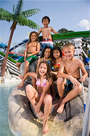 Multi-ethnic children at water park in summer Stock Photo - Rights-Managed, Code: 842-03200220