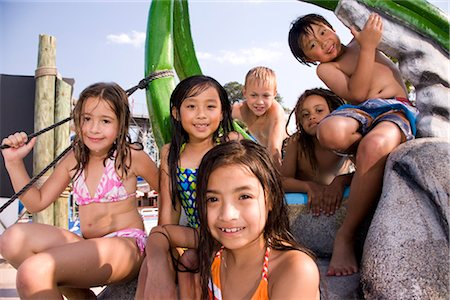 Multi-ethnic children at water park in summer Stock Photo - Rights-Managed, Code: 842-03200235