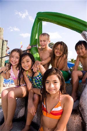 Multi-ethnic children at water park in summer Stock Photo - Rights-Managed, Code: 842-03200236