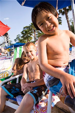 Multi-ethnic boys at water park in summer Stock Photo - Rights-Managed, Code: 842-03200259
