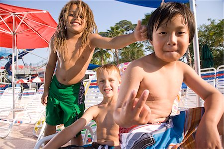 Multi-ethnic boys at water park in summer Stock Photo - Rights-Managed, Code: 842-03200260