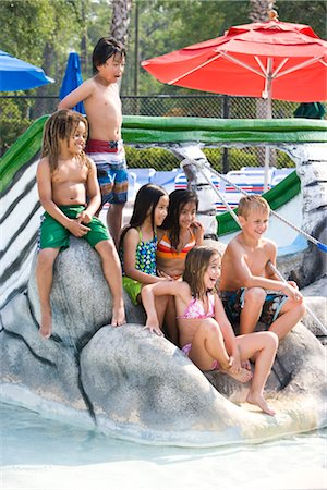 Multi-ethnic group of children at water park in summer Stock Photo - Rights-Managed, Code: 842-03200298