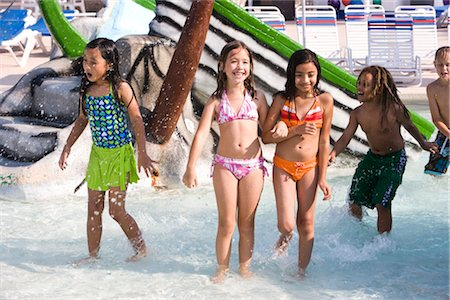Multi-ethnic children at water park in summer Stock Photo - Rights-Managed, Code: 842-03200304