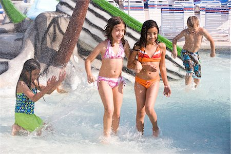 Multi-ethnic children at water park in summer Stock Photo - Rights-Managed, Code: 842-03200305
