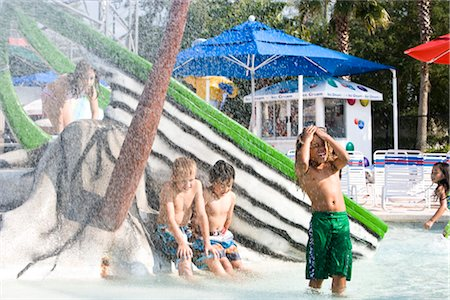 Multi-ethnic children at water park in summer Stock Photo - Rights-Managed, Code: 842-03200300