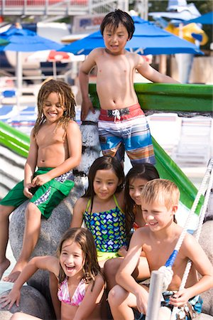 Multi-ethnic children at water park in summer Stock Photo - Rights-Managed, Code: 842-03200340