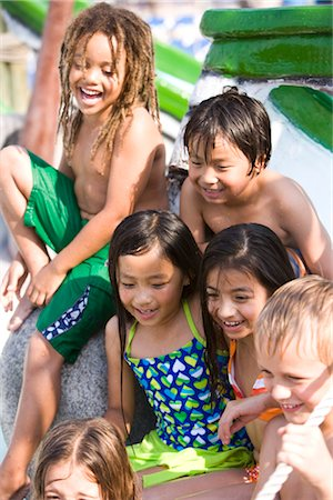 Multi-ethnic children at water park in summer Stock Photo - Rights-Managed, Code: 842-03200341