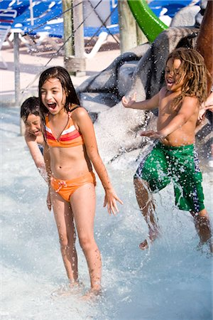 Multi-ethnic children at water park in summer Stock Photo - Rights-Managed, Code: 842-03200350