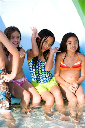Multi-ethnic children at water park in summer Stock Photo - Rights-Managed, Code: 842-03200374