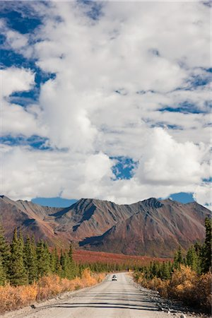 road landscape - Car driving on the Denali Highway amongst Fall foliage and scenery,  Interior Alaska Stock Photo - Rights-Managed, Code: 854-05974342