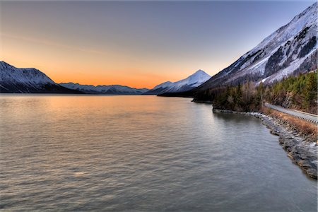 small town snow - Scenic view of the Hope Highway along Turnagain Arm at sunrise, Kenai Peninsula, Southcentral, Alaska, Spring, HDR Stock Photo - Rights-Managed, Code: 854-05974577