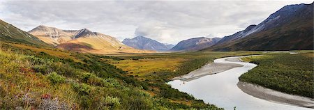 Panorama Of Rafters Camping Off Noatak River In The Brooks Range, Gates Of The Arctic National Park, Northwestern Alaska, Above The Arctic Circle, Arctic Alaska, Summer. Stock Photo - Rights-Managed, Code: 854-08028191