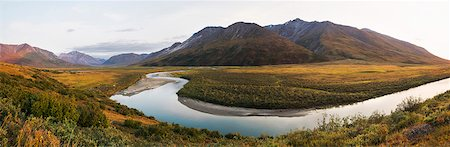 Panorama Of Noatak River In The Brooks Range, Gates Of The Arctic National Park, Northwestern Alaska, Above The Arctic Circle, Arctic Alaska, Summer. Stock Photo - Rights-Managed, Code: 854-08028193