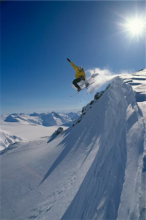 sports and snowboarding - Snowboarder in Mid-Air on Mt.Ogden Juneau Southeast AK winter scenic Stock Photo - Rights-Managed, Code: 854-02954864