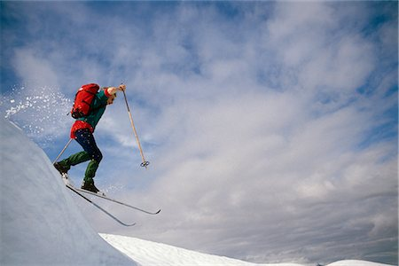 quest - Cross Country Skier Jumping Off Ridgeline SC Alaska Stock Photo - Rights-Managed, Code: 854-02954898