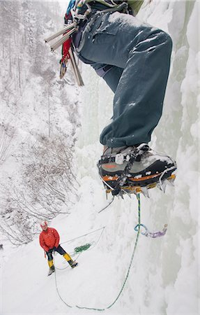quest - Two ice climbers climbing frozen waterfall in Hunter Creek Canyon, Chugach Mountains, Alaska Stock Photo - Rights-Managed, Code: 854-02955029
