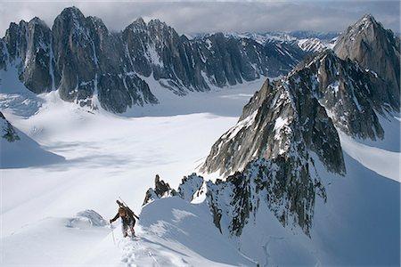 Mountaineer climbing on narrow ridge in Kichatna Mtns Denali National Park Interior Alaska Winter Stock Photo - Rights-Managed, Code: 854-02955045