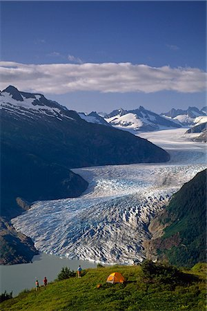 family fun day background - Camping above Mendenhall Glacier & Lake Juneau Alaska southeast hiking family adult Stock Photo - Rights-Managed, Code: 854-02955074