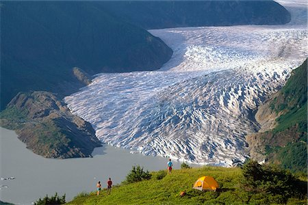 family fun day background - Camping above Mendenhall Glacier & Lake Juneau Alaska southeast hiking family adult Stock Photo - Rights-Managed, Code: 854-02955075