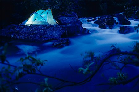 quest - Lighted Tent by Liberty Creek @ Night Southcentral Alaska/nsummer Stock Photo - Rights-Managed, Code: 854-02955077