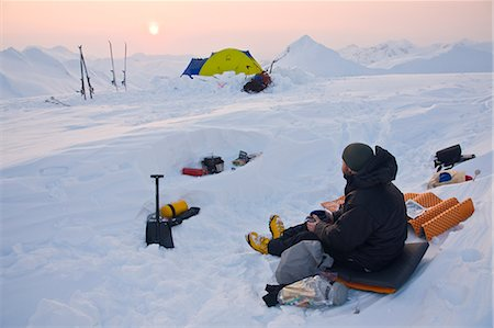 quest - Climber enjoys a winter sunset in the Chugach Mountains above Prince William Sound, Alaska Stock Photo - Rights-Managed, Code: 854-02955072
