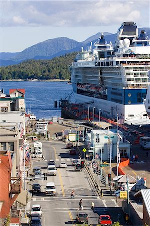 road landscape - Celebrity & Holland America Cruiseships docked near downtown Ketchikan Alaska Southeast Summer Stock Photo - Rights-Managed, Code: 854-02955598