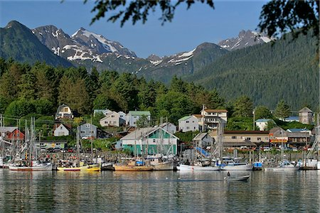 small town snow - Sitka's small boat harbor as viewed from Japonski Island in southeast, Alaska Stock Photo - Rights-Managed, Code: 854-02955604