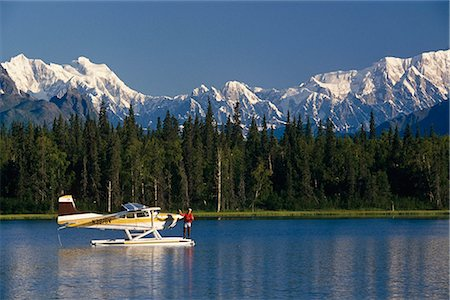 fun happy colorful background images - Man on Floatplane AK Range Lake Spin Fishing Summer AK Mt McKinley Southside Southcentral Stock Photo - Rights-Managed, Code: 854-02955649