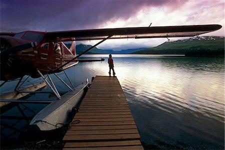 quest - Fisherman Chelatna Lake Lodge Floatplane Docked Alaska Range Interior Summer Scenic Stock Photo - Rights-Managed, Code: 854-02955651
