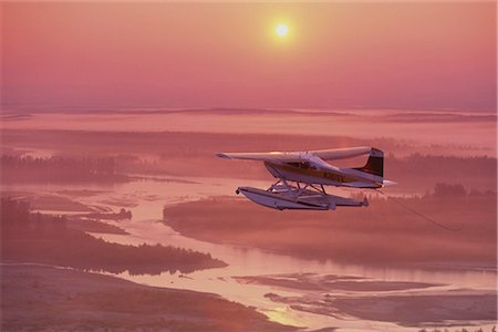 Floatplane Flying @ Sunset  Matanuska Valley SC AK Summer Stock Photo - Rights-Managed, Code: 854-02955653