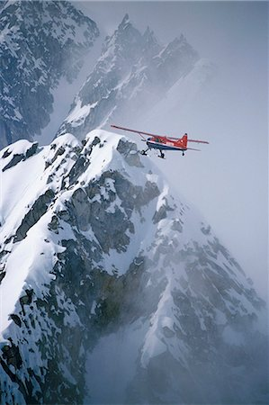 Aerial of Talkeetna Air Taxi Dehavilland Beaver skiplane Kahiltna Glacier Denali Nat Park Alaska Stock Photo - Rights-Managed, Code: 854-02955687