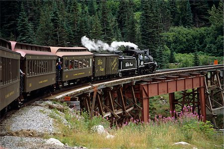 steam engine - White Pass & Yukon Route Railroad on Tressel SE AK Summer near Skagway Stock Photo - Rights-Managed, Code: 854-02955700