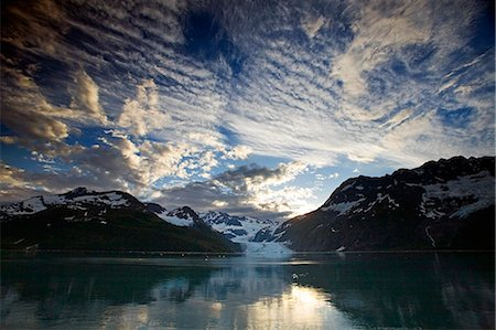 Surprise Glacier at sunset Harriman Fjord PWS Southcentral Alaska summer Stock Photo - Rights-Managed, Code: 854-02956097