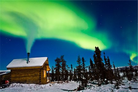 Aurora over cabin in the White Mountian recreation area during Winter in Interior Alaska. Stock Photo - Rights-Managed, Code: 854-02956105