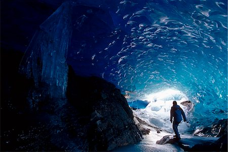 Hiker Mendenhall Glacier Exploring Ice Cave AK Southeast Stock Photo - Rights-Managed, Code: 854-02956117