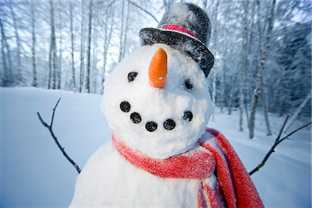 Portrait of snowman with red scarf and black top hat, Alaska Stock Photo - Rights-Managed, Code: 854-02956135