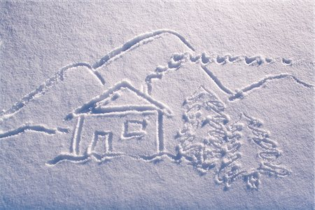 Snow drawing of cabin with landscape and stick people winter Alaska Stock Photo - Rights-Managed, Code: 854-02956166