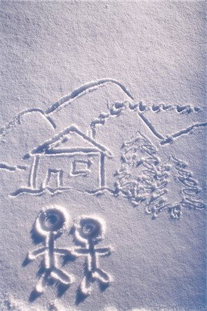 Snow drawing of cabin with landscape and stick people winter Alaska Stock Photo - Rights-Managed, Code: 854-02956167