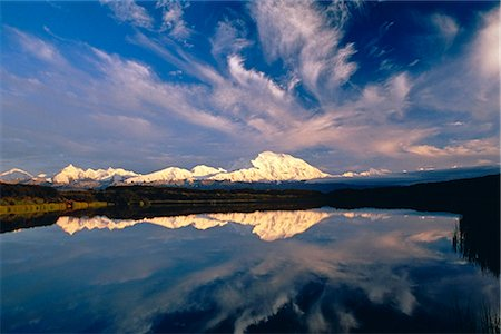 Mt McKinley Wonder Lake Denali Natl Park Interior AK summer scenic Stock Photo - Rights-Managed, Code: 854-02956229