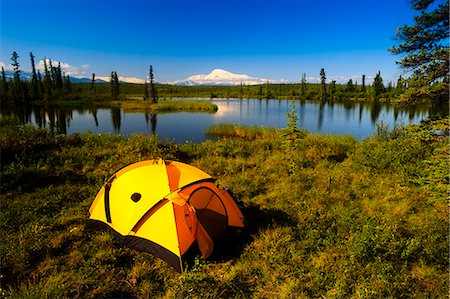 Tent camping in Wrangell Saint Elias National Park with Mount Sanford in the background, Southcentral Alaska, Summer Stock Photo - Rights-Managed, Code: 854-03361769