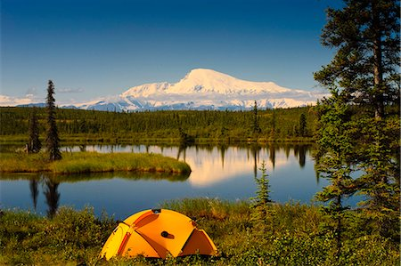 Tent camping in Wrangell Saint Elias National Park with Mount Sanford in the background, Southcentral Alaska, Summer Stock Photo - Rights-Managed, Code: 854-03466920
