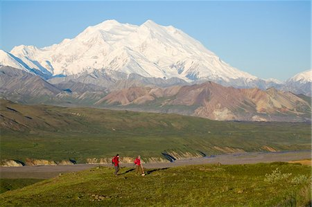Two hikers view McKinley from tundra at Eielson visitor center summer Denali National Park Alaska Stock Photo - Rights-Managed, Code: 854-03538139