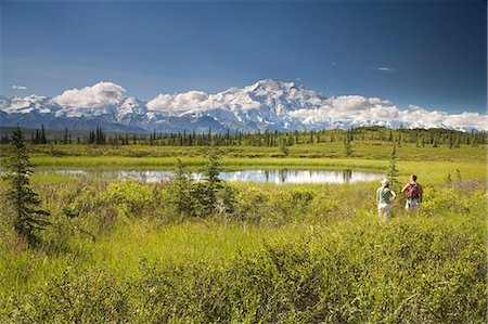 Young couple view Mt.McKinley and the Alaska Range in Denali NP Alaska summer Stock Photo - Rights-Managed, Code: 854-03538175