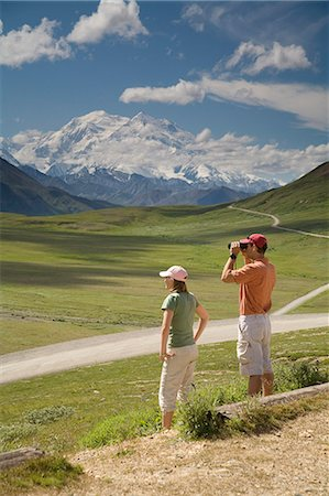 Young couple of tourist view Mt.McKinley and the Alaska Range from Stony Hill overlook in Denali NP Alaska summer Stock Photo - Rights-Managed, Code: 854-03538176