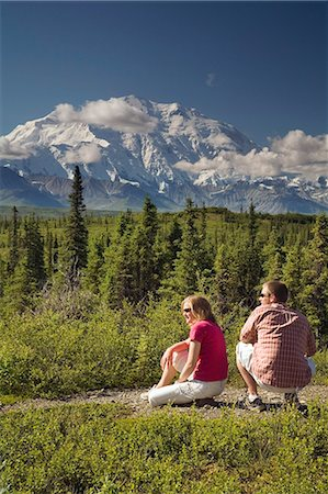 Young couple view Mt McKinley and the Alaska Range in Denali NP Alaska summer Stock Photo - Rights-Managed, Code: 854-03538171