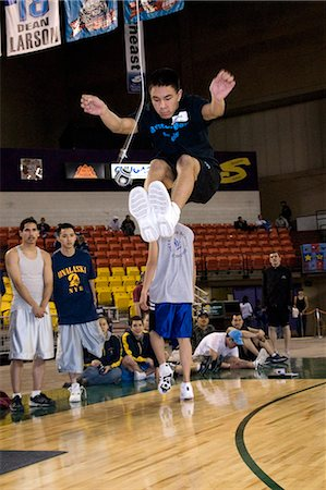 Boy doing Two-Foot High Kick 2006 Senior Native Youth Olympic Games Alaska Anchorage Sullivan Arena Stock Photo - Rights-Managed, Code: 854-03538938
