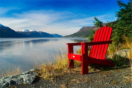 red chair - Red Adirondack chair, Turnagain Arm, Southcentral Alaska Stock Photo - Rights-Managed, Code: 854-03539155