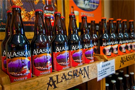 seasonal - Close up of the gift shop beer display at the Alaskan Brewing Company in Juneau, Southeast Alaska, Summer Stock Photo - Rights-Managed, Code: 854-03646340