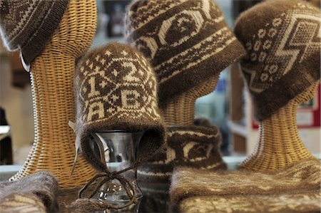 exhibition - Display of hand knitted Qiviut hats at the Oomingmak Musk Ox Producers' Co-operative in Downtown Anchorage, Southcentral Alaska, Summer/n Stock Photo - Rights-Managed, Code: 854-03646341