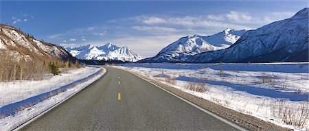 panoramic winter scene - Daytime view of the Richardson Highway along the Delta River just before heading into the Alaska Range, Interior Alaska, Winter Stock Photo - Rights-Managed, Code: 854-03646446